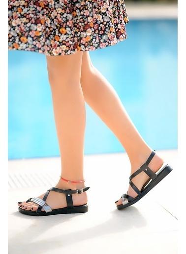 Pembe Potin A202-20 Kadın sandalet Siyah